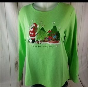 QUACKER FACTORY XMAS GREEN SIZE M cotton top